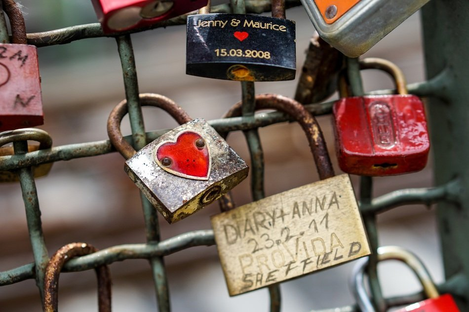 love locks with inscriptions close up