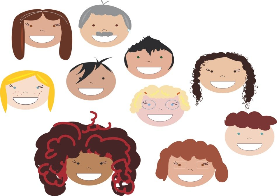 Different smiling faces clipart