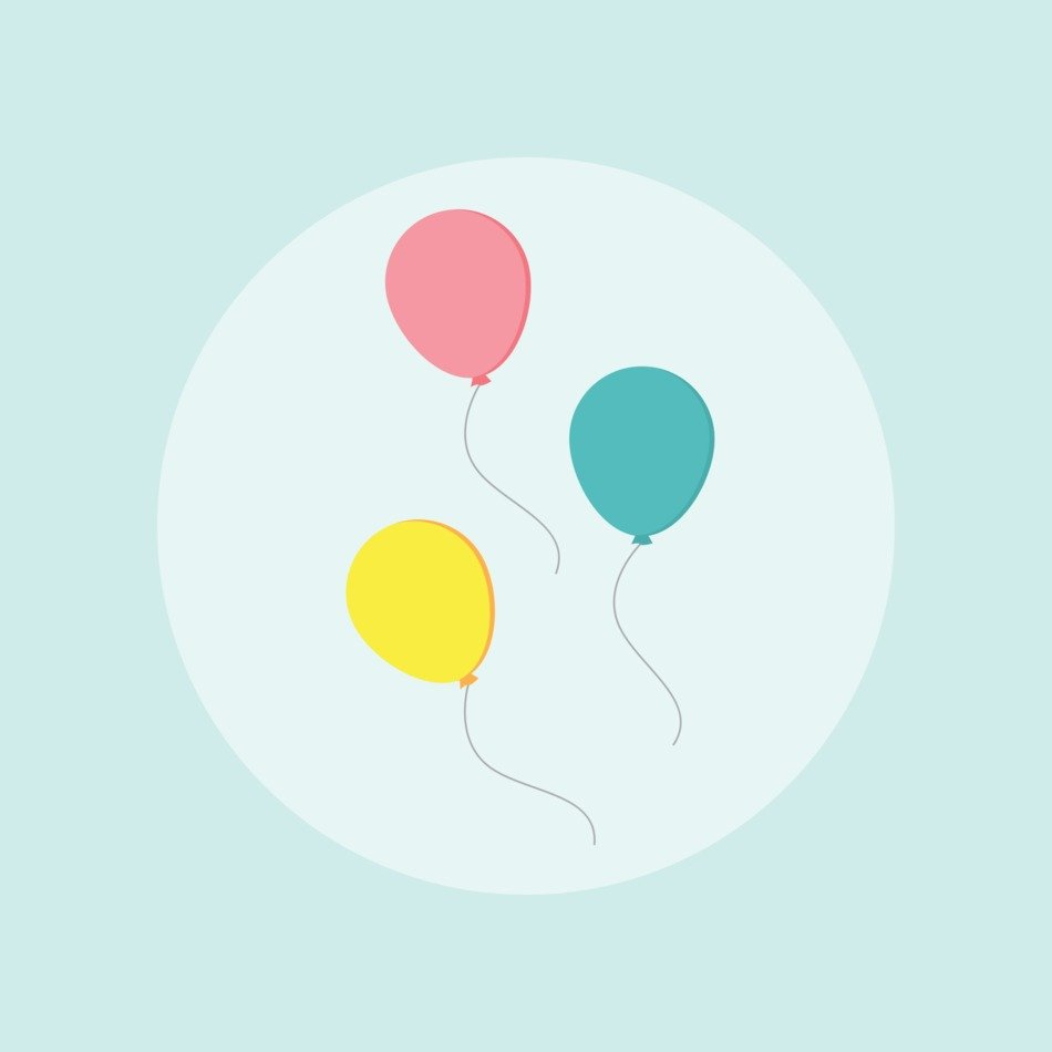 balloons on a white circle