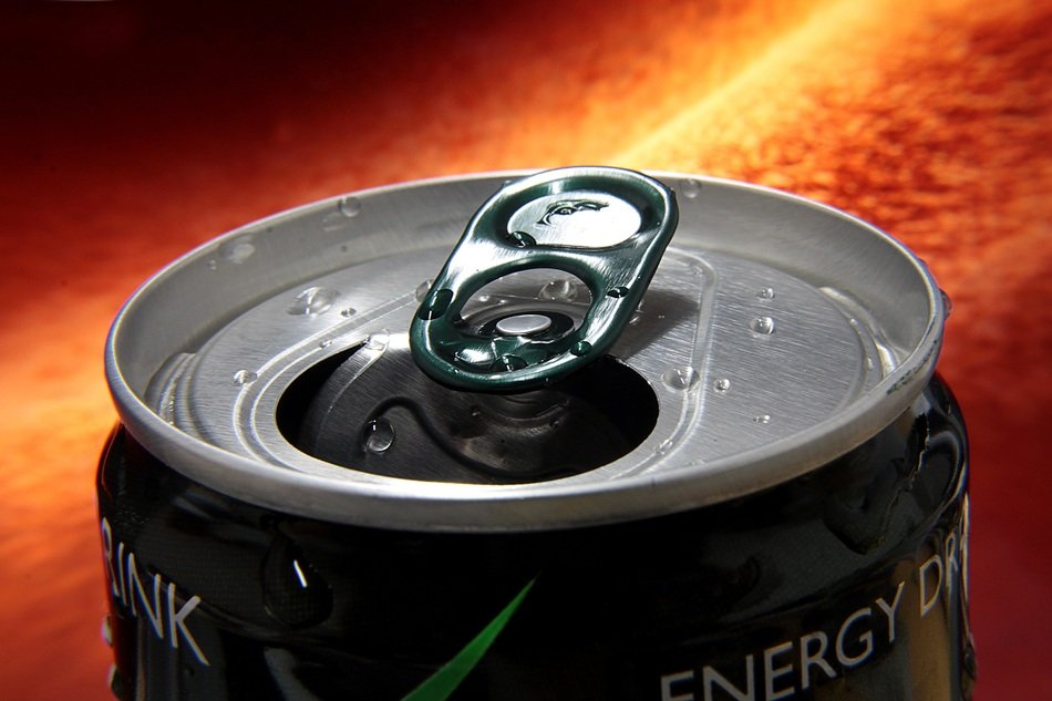 Opened can with the energy drink