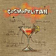 drawing with recipe of cosmopolitan cocktail