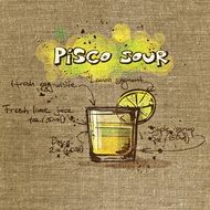 Pisco Sour Cocktail Drink Tissue drawing