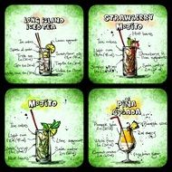 collage with recipes of alcohol cocktails