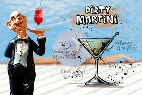 recipe of dirty martini cocktail drink