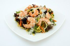 salad with greens and shrimps