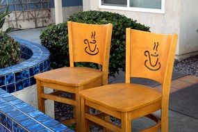 Coffee Cups, drawing on Chairs Outdoor
