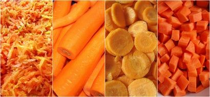 collage of carrot slicing