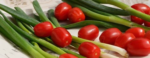 green spring onion and tomatoes