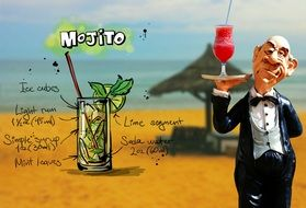 Mojito Cocktail recipet, collage with toy waiter