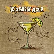 kamikaze cocktail recipe on paper