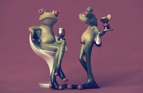 relaxing with drinks ceramic frogs