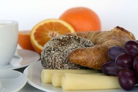 Breakfast Coffee Oranges Cheese grapes