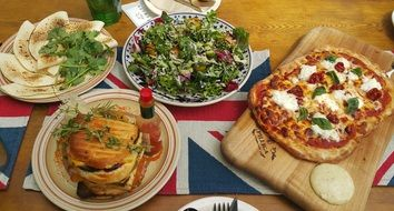 pizza, sandwich and salad