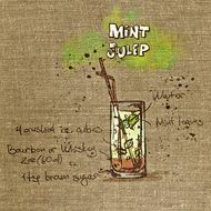 Mint Julep Cocktail drawing