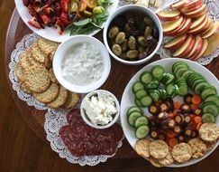 plates with appetizers