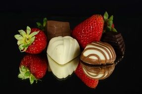 photo of strawberries and delicious chocolates
