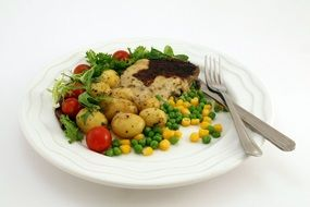 high-calorie dish in a white plate