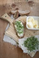 bread and butter on a wooden board