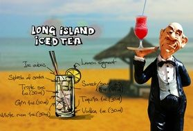 waiter with glass of long island iced tea