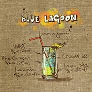 wallpaper with alcoholic blue lagoon cocktail recipe