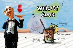 waiter with sour whiskey cocktail