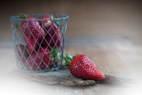fresh Red Strawberries in the basket