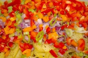 potatoes under vegetables as a dish