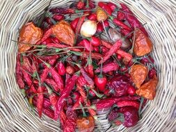dry spices and dry red pepper