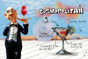 waiter with cosmopolitan cocktail