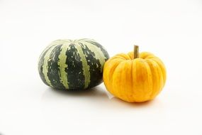 isolated yellow green pumpkins