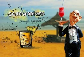 waiter with screwdriver drink