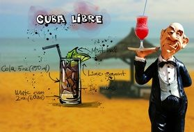 waiter with cuba libre cocktail