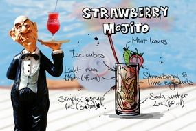 waiter with strawberry mojito drink