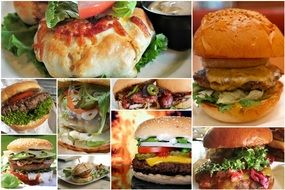 collage of different hamburgers