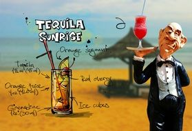 recipe of fresh tequila sunrise drink