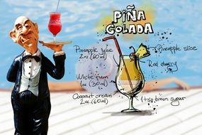 waiter with pina colada cocktail