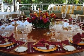 luxury Table Setting with crystal and silverware