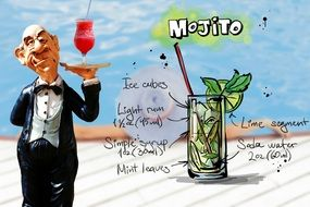 waiter with fresh mojito cocktail