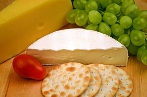 Camembert Cheese Grapes Crackers