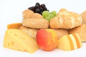 Baked buns peach cheese grapes food