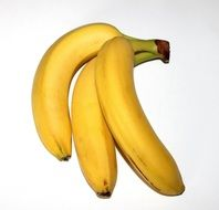 three yellow bananas lie together
