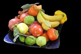 Bowl of different sweet tasty healthy fruits