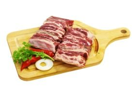 barbecue meat on a wooden board