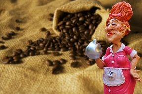 Coffee beans adult woman figure in front