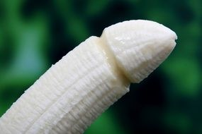 Banana without peel in form of Condom
