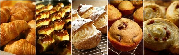 collage of delicious pastries