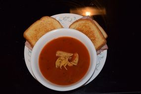 Tomato soup with sandwiches
