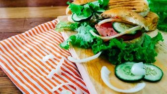 delicious sandwich with vegetables