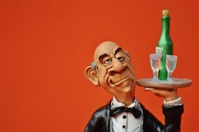 butler with Champagne on a tray Figurine