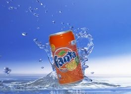 can of fanta in water